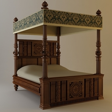 Antique Canopy Bed 3D Model