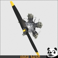 Aircraft Radial Engine V5 3D Model