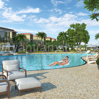 3d exterior rendering resort and swimming pool cover