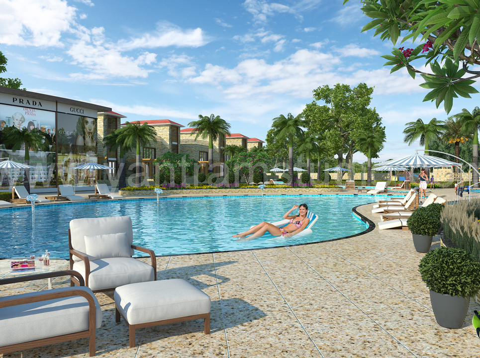 3d exterior rendering resort and swimming pool show