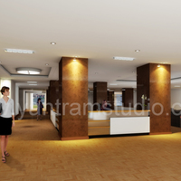 3d interior design rendering for commercial office reception cover