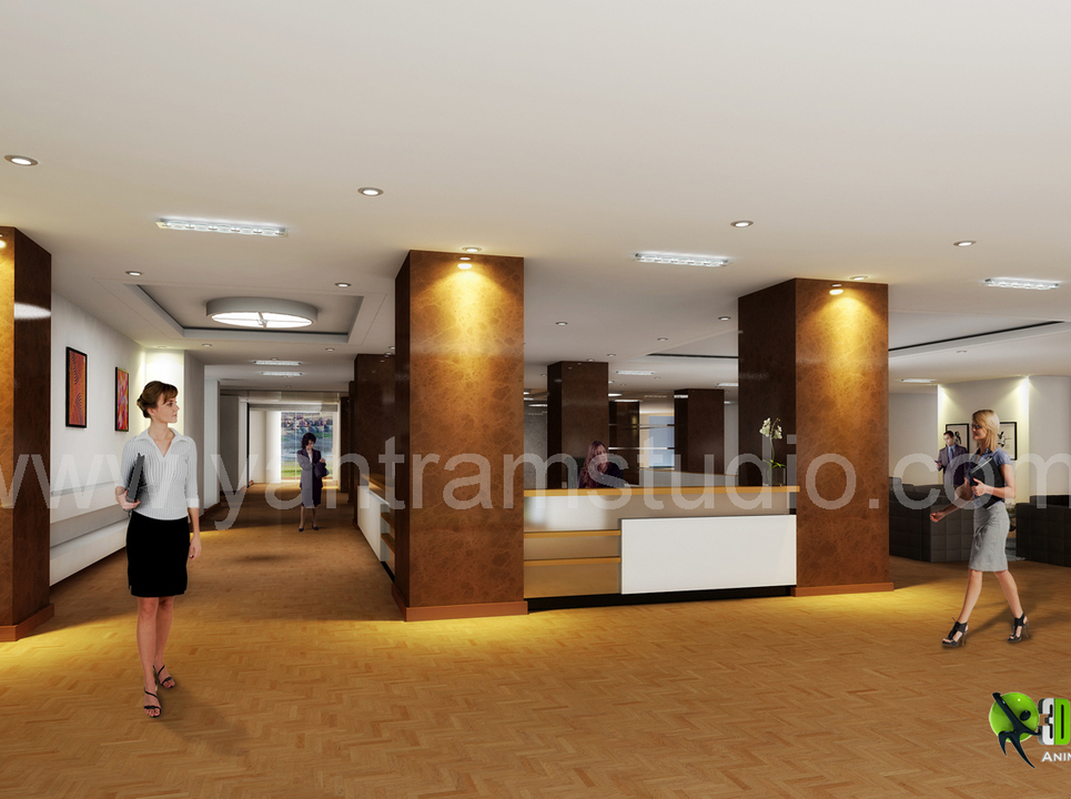 3d interior design rendering for commercial office reception show