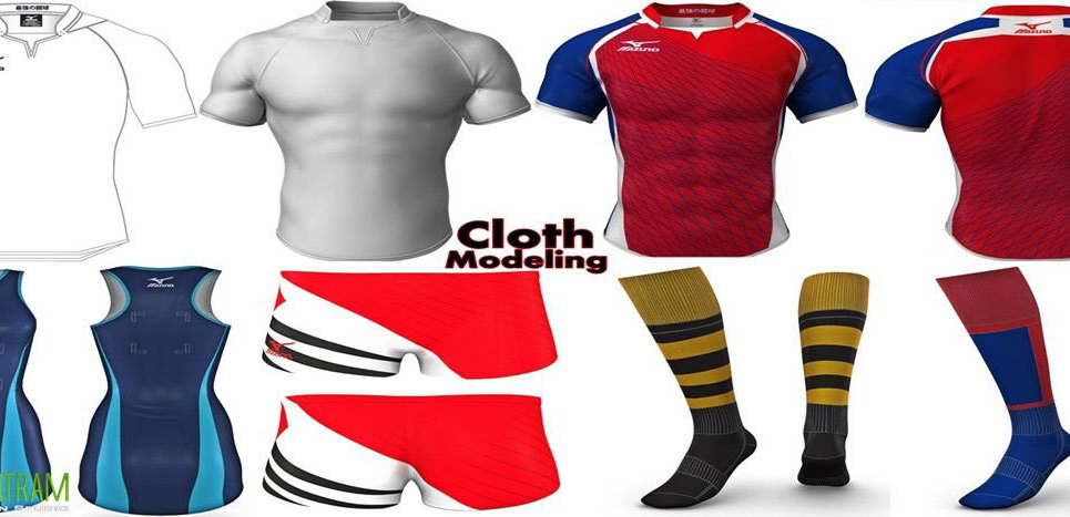 Cloth modeling animations show