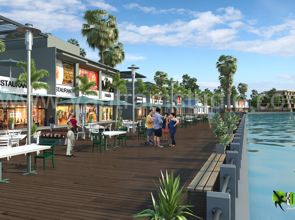 3d exterior rendering restaurant design show