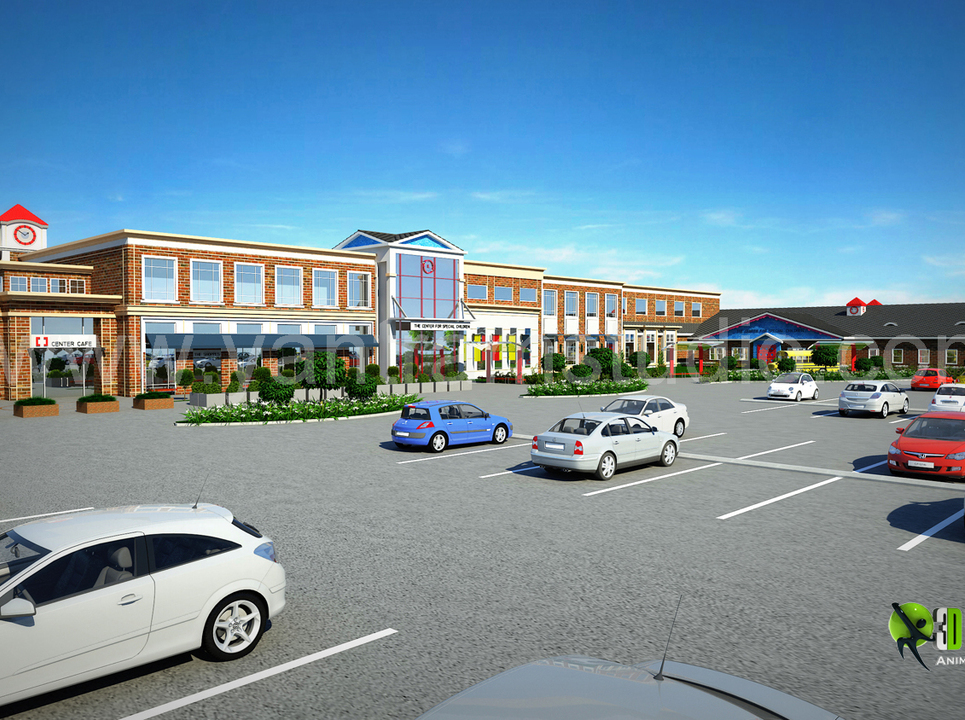 3d exterior rendering shopping mall design show