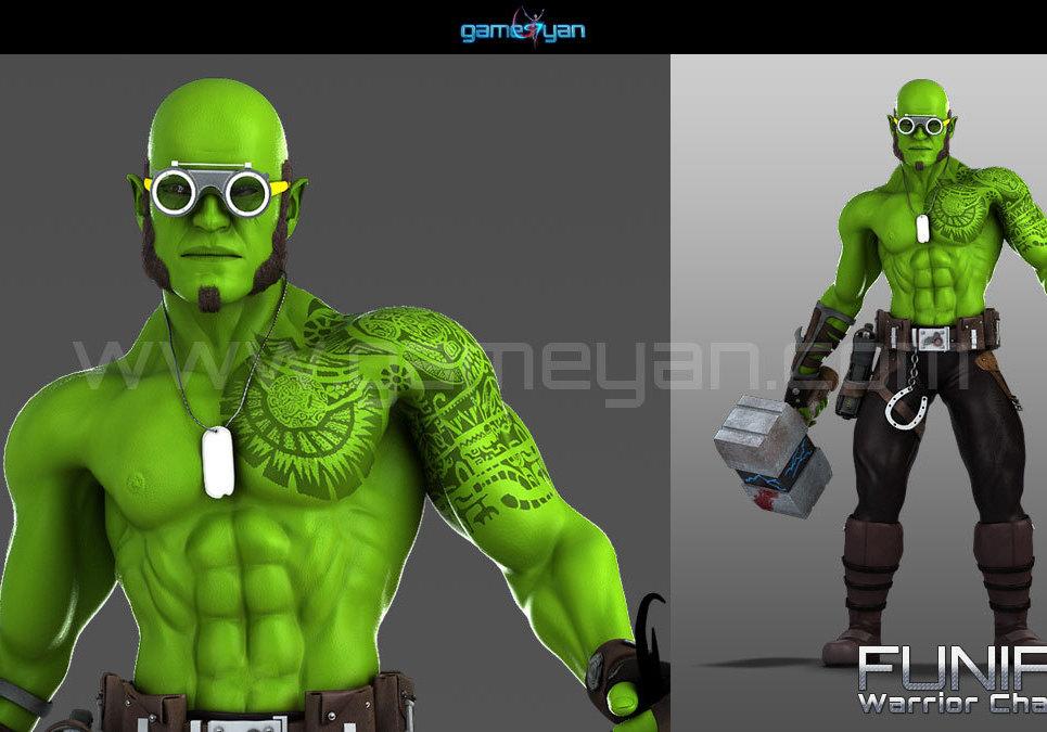 3d funifap warrior character modeling show