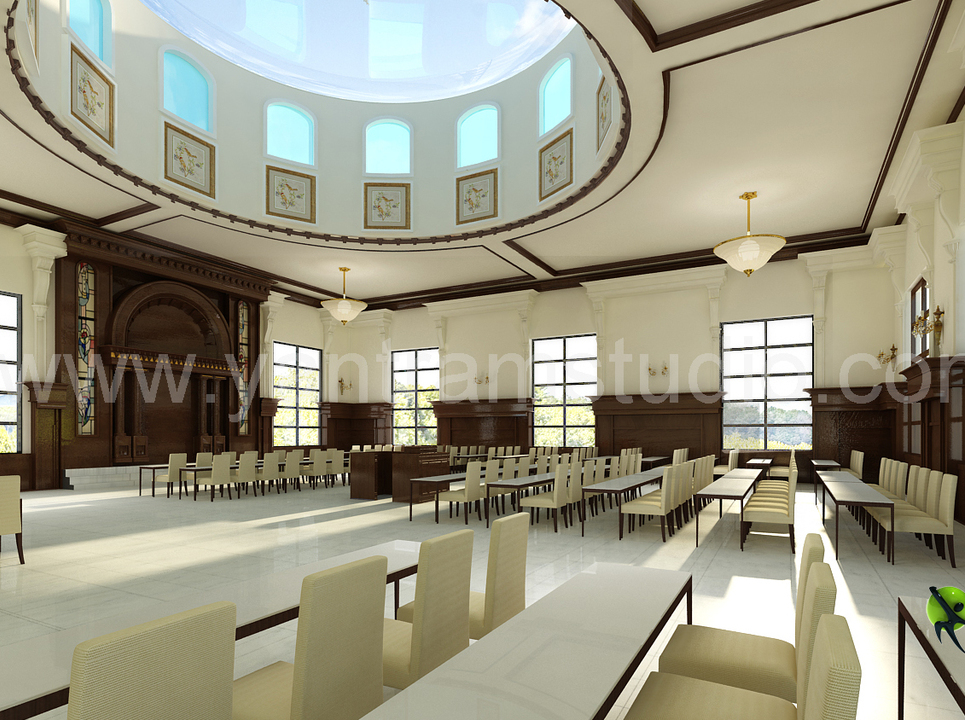 3d interior design rendering for community hall show