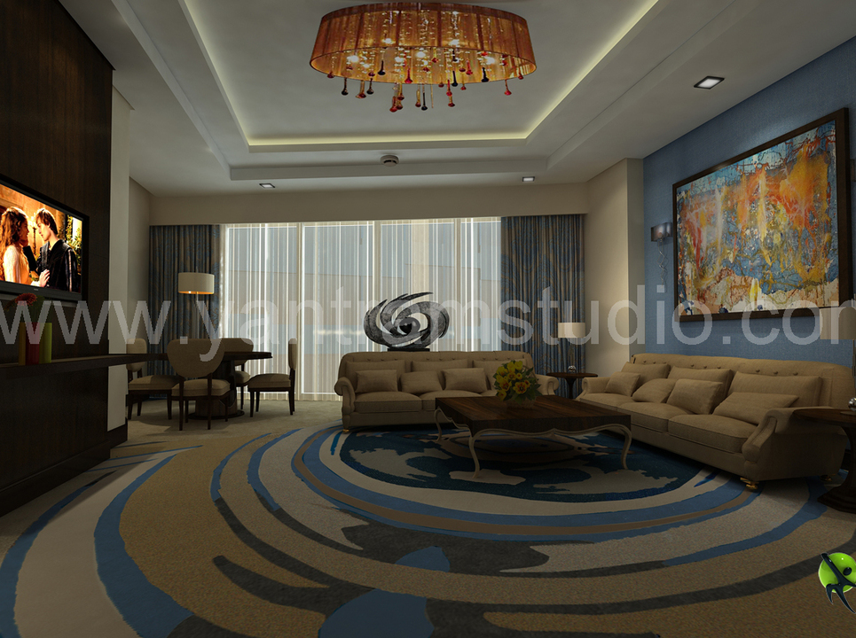 3d interior design rendering for hotel room show