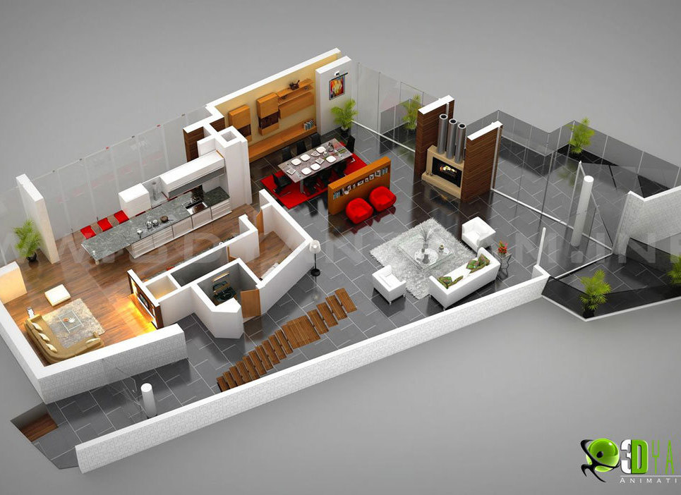 3d residential ground floor plan show