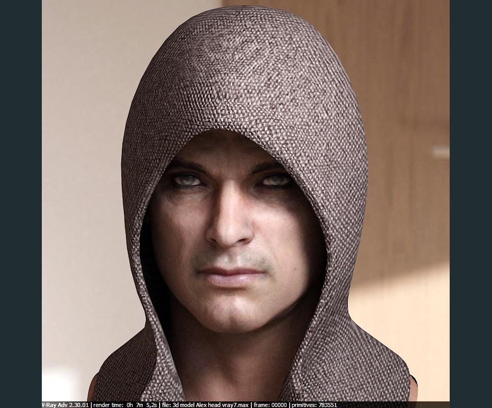3d model human head male 7 show