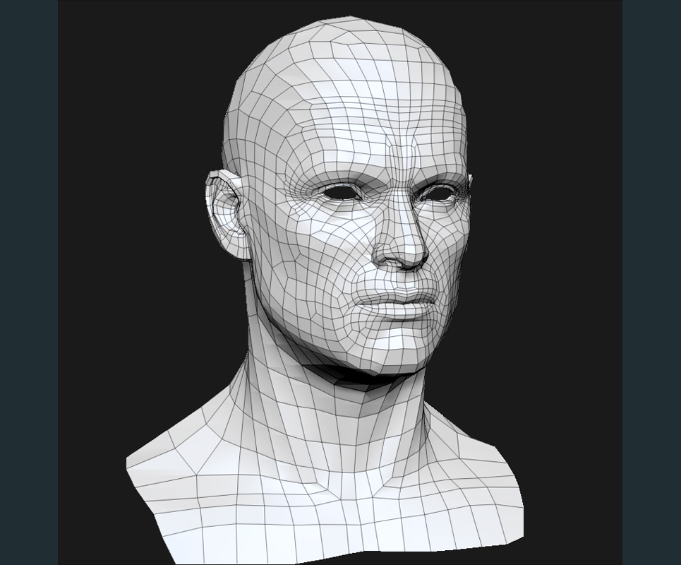 3d model human head male mesh show