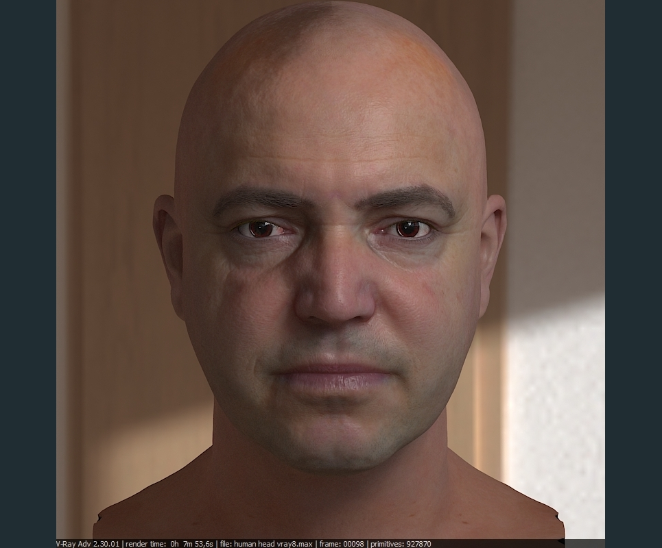 3d model realistic male human head 2 show