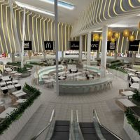 3d modern interior shopping mall   restaurant design cover