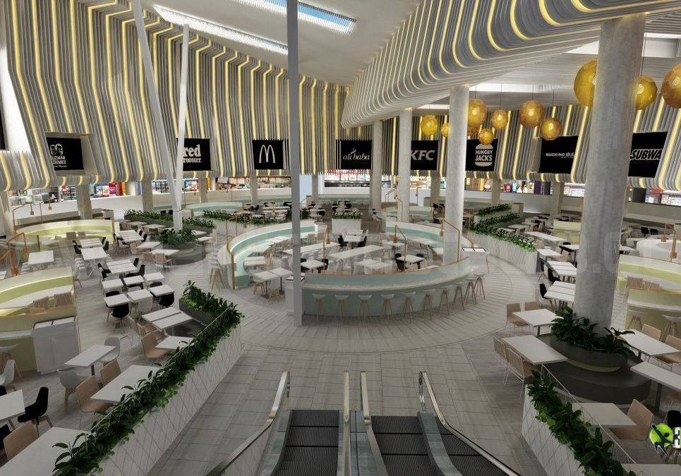 3d modern interior shopping mall   restaurant design show
