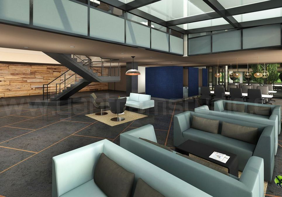 Corporate office lobby interior design rendering show