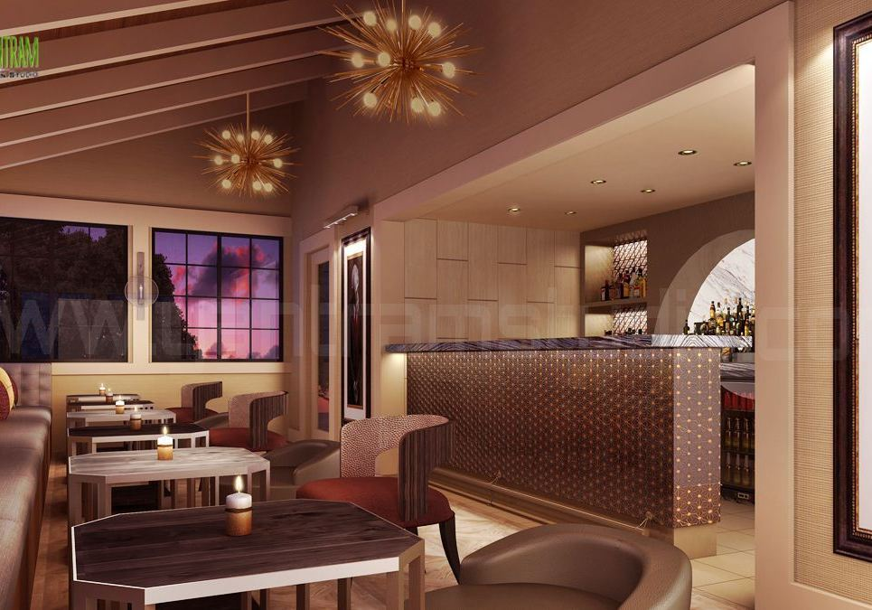 Interior design rendering for commercial bar show