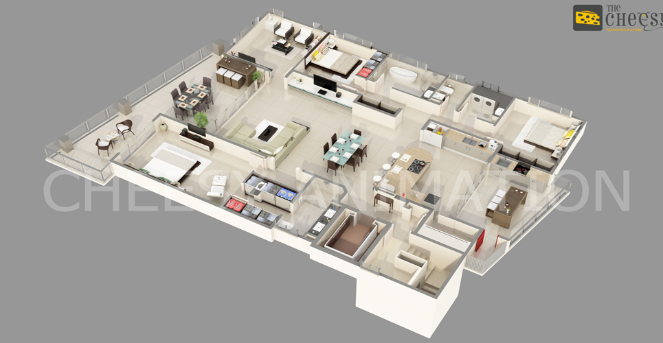 3d typical isometric plan show