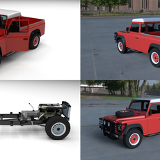 Land Rover Defender 110 Pick Up HDRI 3D Model