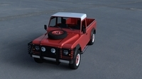 Land Rover Defender 110 Pick Up w interior HDRI 3D Model