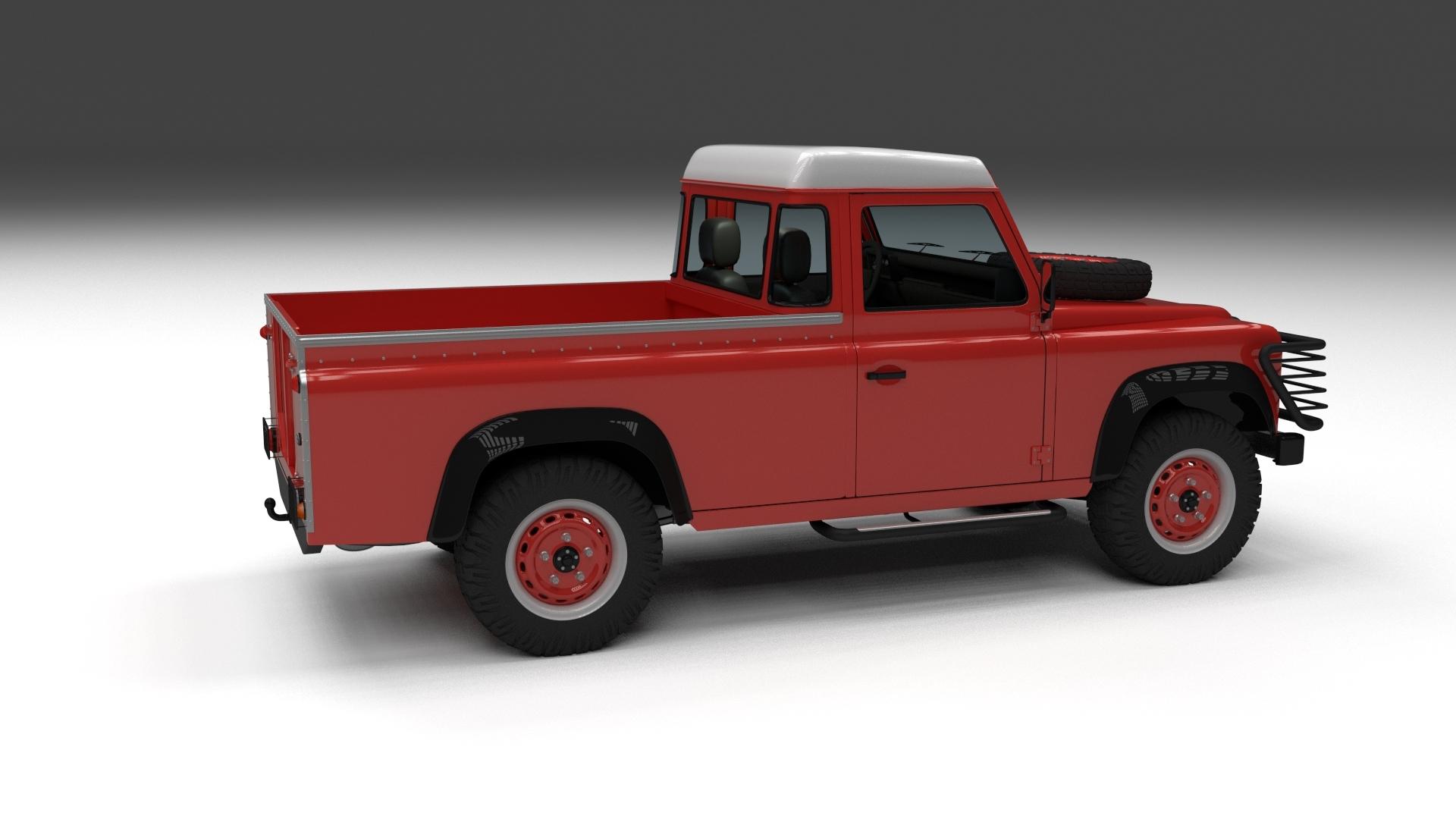 land rover defender 110 pick up w interior hdri 3d model. Black Bedroom Furniture Sets. Home Design Ideas