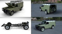 Land Rover Defender 110 Hard Top w chassis and interior HDRI 3D Model