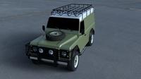 Land Rover Defender 110 Hard Top wo interior HDRI 3D Model