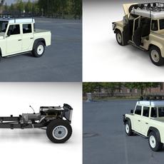 Full Land Rover Defender 110 Double Cab Pick Up HDRI 3D Model