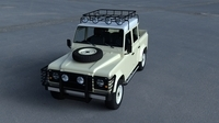 Land Rover Defender 110 Double Cab Pick Up w interior HDRI 3D Model