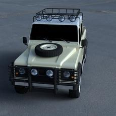 Land Rover Defender 110 Double Cab Pick Up exterior HDRI 3D Model
