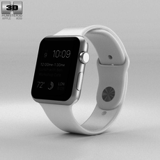 Apple Watch Sport 42mm Silver Aluminum Case White Sport Band 3D Model