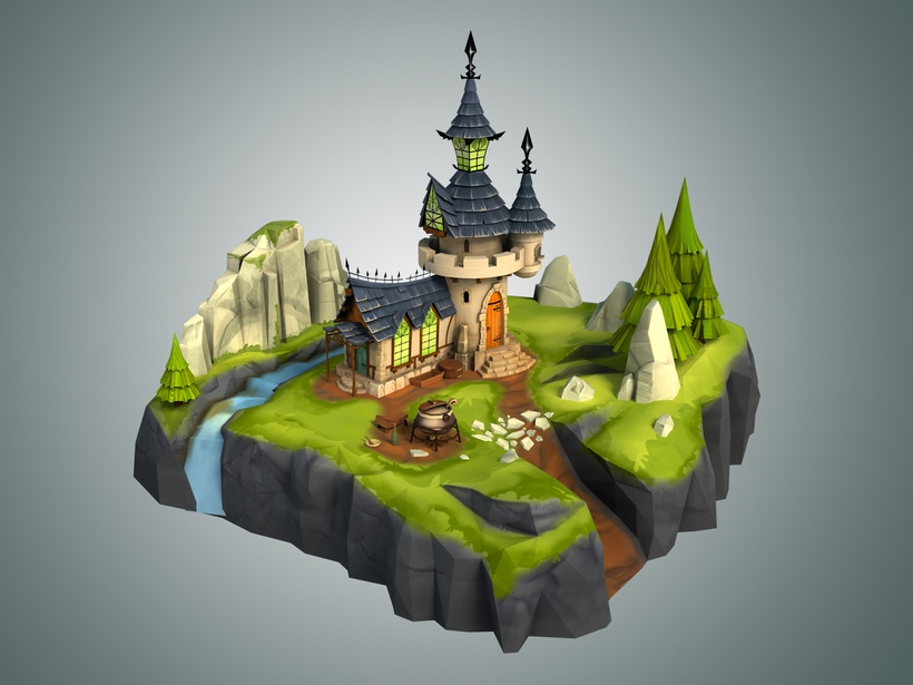 Low Poly Stylized Castle Environment 3D Model
