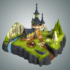 Low Poly Stylized Castle Environment 3D Model