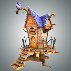 Low Poly Creepy House 3D Model