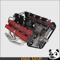 V8 engine 03 3D Model