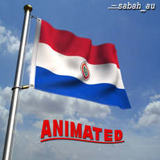 Animated Paraguay Flag 3D Model