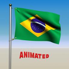Brazil Flag Animated 3D Model