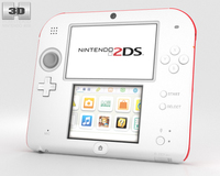 Nintendo 2DS White + Red 3D Model