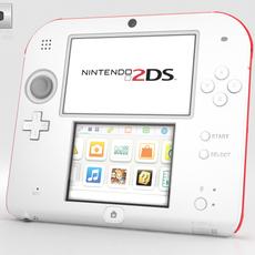 Nintendo 2DS White + Red 3D Model