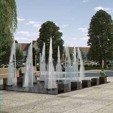 Fountain with Textured Water Splash 3D Model