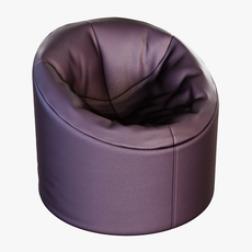 Soft brown Faux leather pouf 3D Model