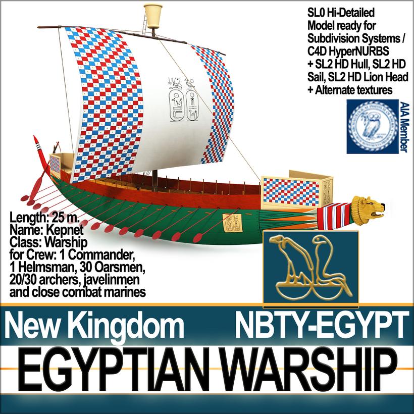 Ancient Egypt Warship Kepnet NK 3D Model