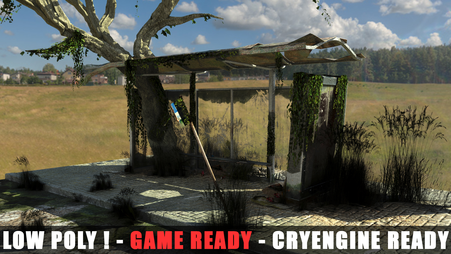 Apocalyptic Bus Stop(Cryengine Ready-File included) 3D Model