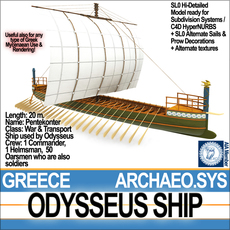 Greek Homeric Odysseus Ship 3D Model