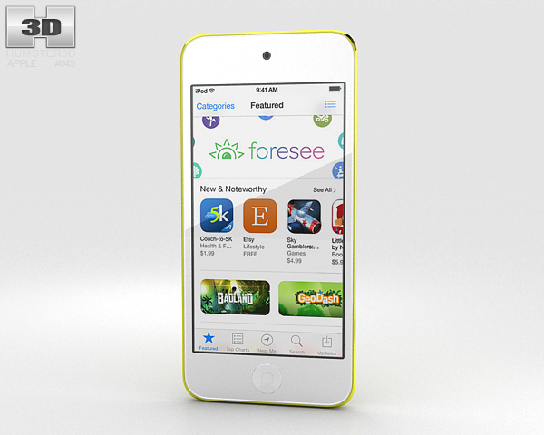 Apple iPod Touch Yellow 3D Model
