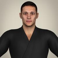 Realistic Male Karate Master 3D Model