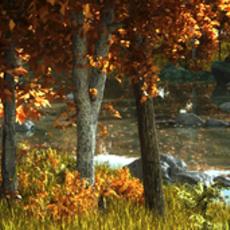 Autumn leaves mangrove creeks animated 3D Model