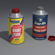 Can Cone Top with Removable Cap and with Brake Fluid Labels 3D Model