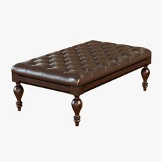 Carroll Leather Bench Ottoman 3D Model