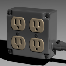Electrical Junction Box with Grounded AC Plugs 3D Model