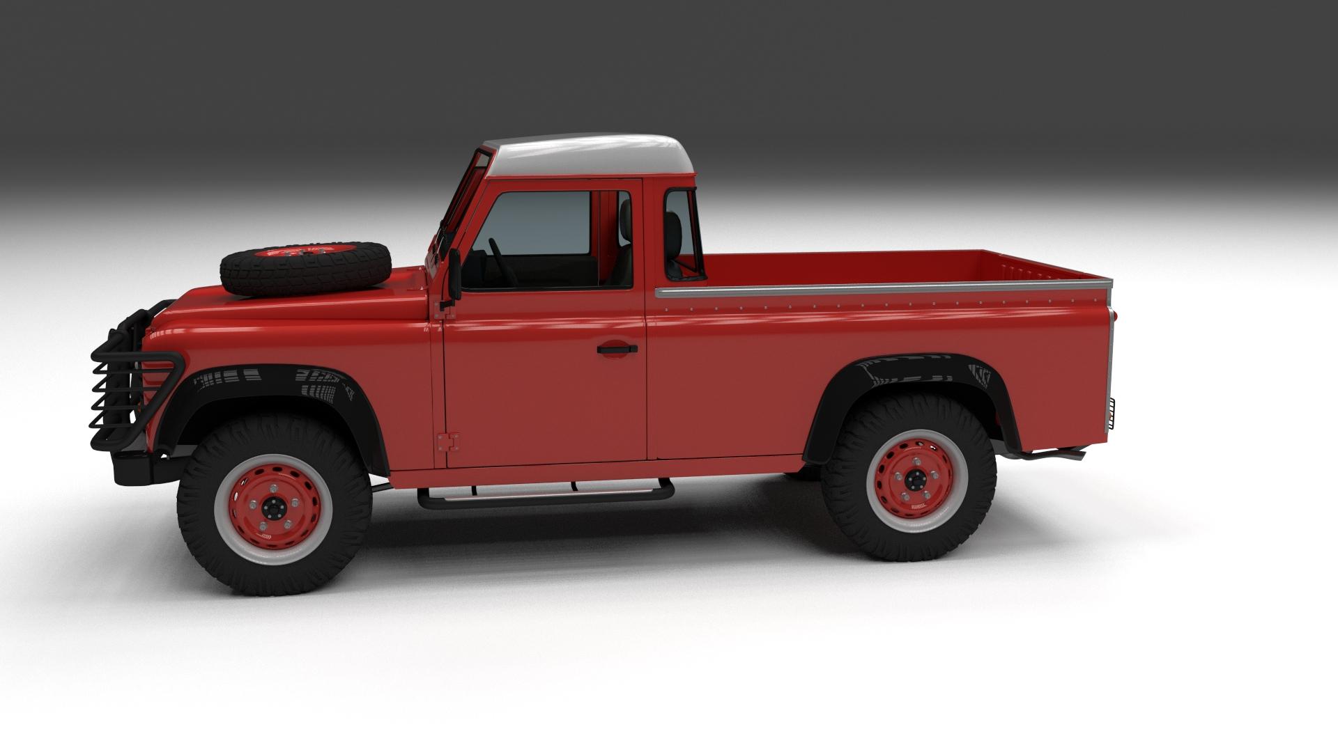 land rover defender 110 pick up w interior 3d model. Black Bedroom Furniture Sets. Home Design Ideas